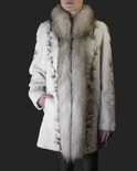Bleached Sheared Mink Sectional Jacket with Russian Raccoon Trim B/L 32""