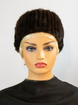 "Knitted Natural Mink with Elastic Headband 10"" Length"