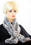 Knitted Natural Chinchilla Rosette Scarf