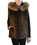 Natural Beaver Vest with Finnish Raccoon Ruff
