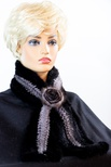 Knitted Two-Tone Mink Rosette Scarf