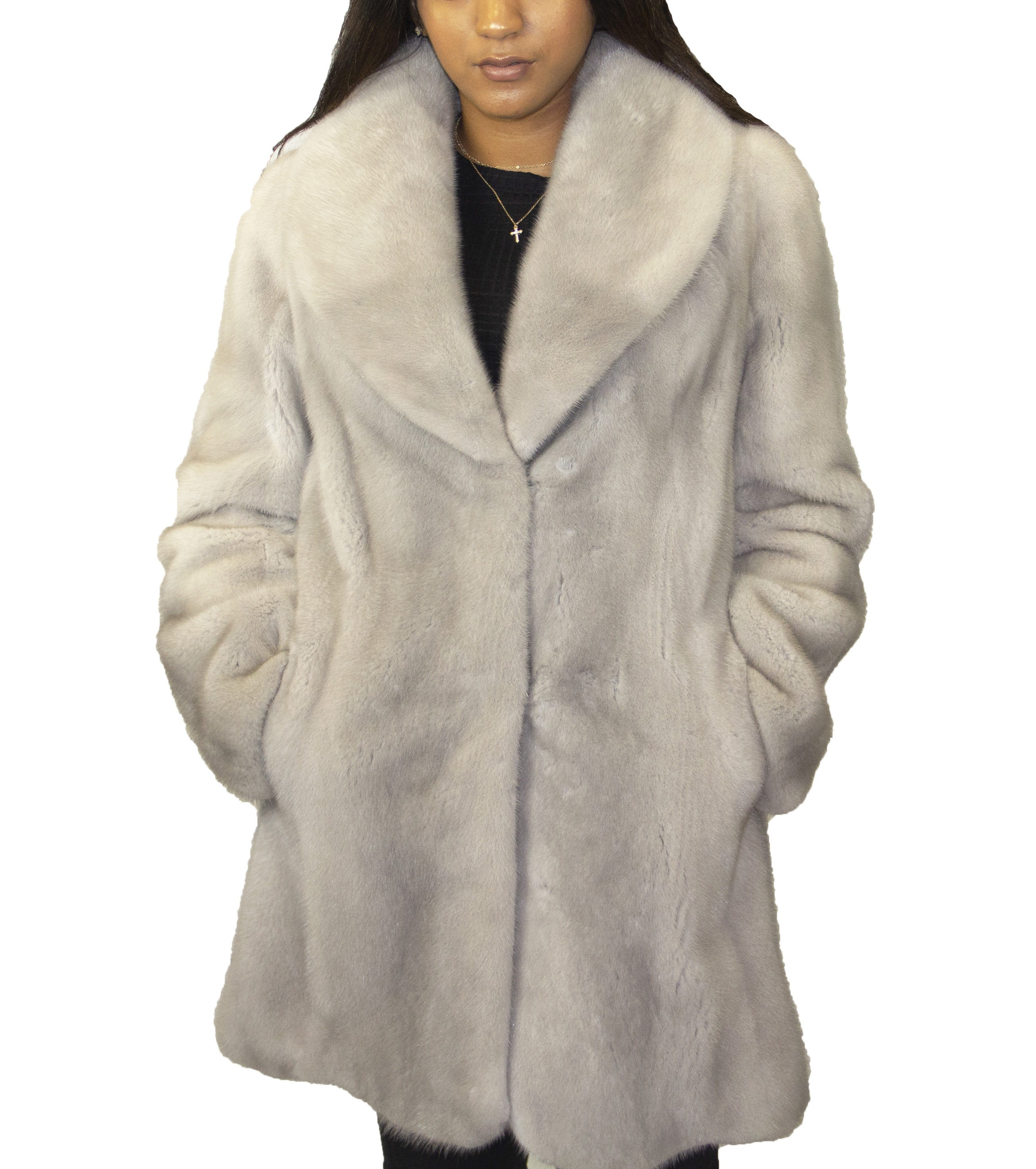 Sapphire Mink Jacket with Blouson Sleeves and Shawl Collar