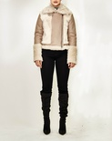 Shearling Jacket with Toscana Shirt Collar Zipper Front