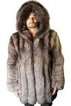 Silver Fox Full-Skin Bomber Jacket with Sheared Beaver Lined Hood