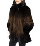 Degraded Mahogany Mink with Natural Mink Shirt Collar