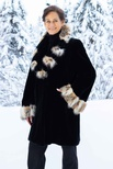 Dyed Black Sheared Beaver Bell-Sleeve Coat with American Lynx Sectional Collar and Cuff