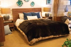 Velvet Lined Alaska Sea Otter Blanket with Russian Raccoon Trim (8 Skins)