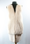 Lamb Shearling Long-Paneled Vest with Fox Front