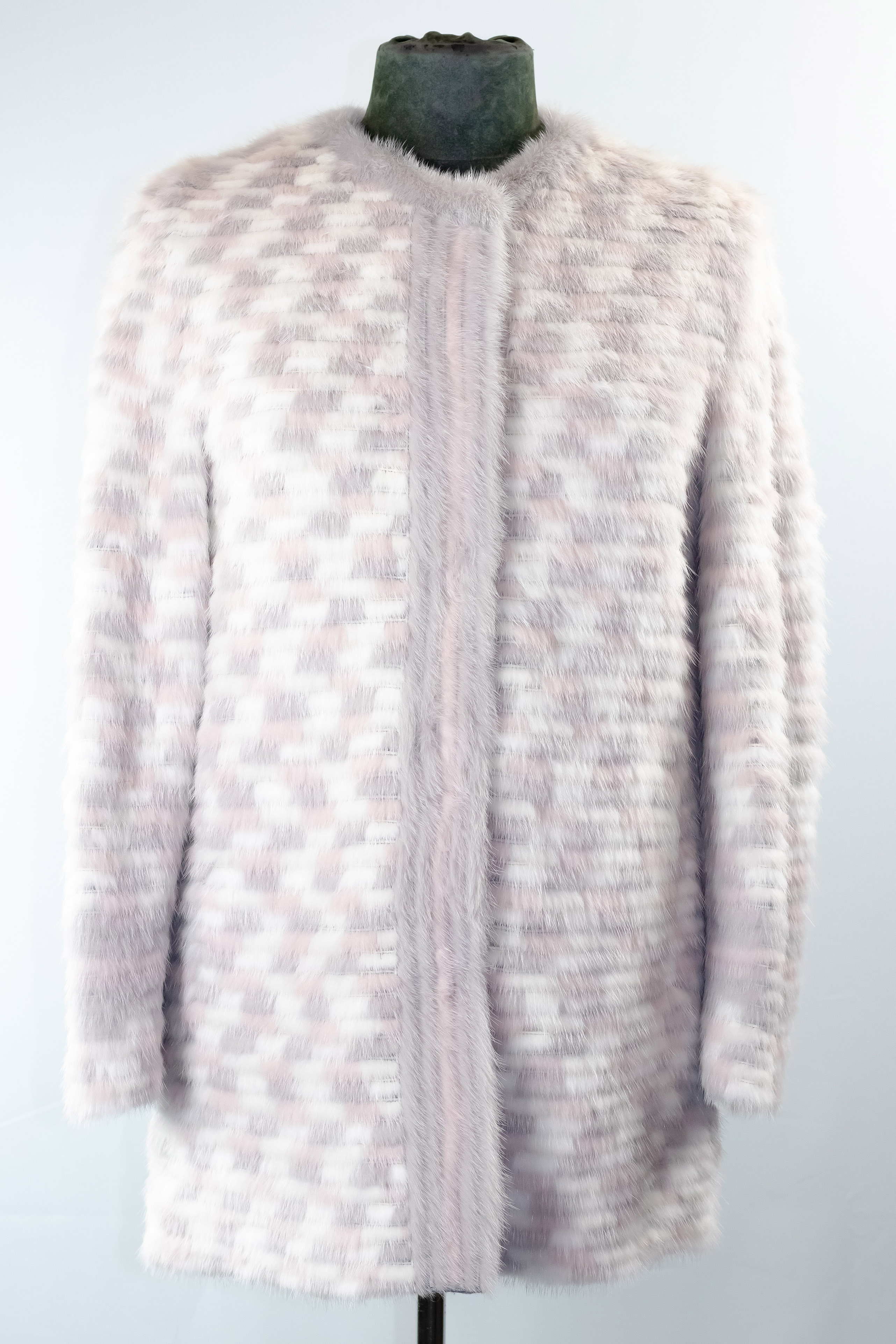 Multi-Tone Horizontal Mink Jacket with Yoke Collar