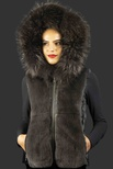 Dark Grey Calf Skin Panels Vest with Grey Rex Rabbit Front and Dyed Grey Fox Trimmed Hood