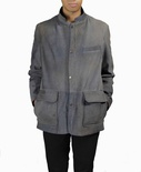 English Lamb Button-down Jacket with Mandarin Collar B/L 30""