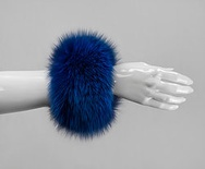 C1 - Electric Blue : Fox Fur Cuffs (1 pair)