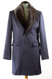 Men's Loro Piana Cashmere Tailored Stroller with Natural Ranch Mink Collar