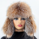 Fox Aviator Hat with Leather Crown