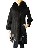 Astrakan Coat with Mink Accents and Raccoon Shawl Collar