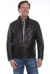LEATHER JACKET WITH DOUBLE LAPEL FACING