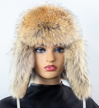 Coyote Aviator Hat with Leather Crown