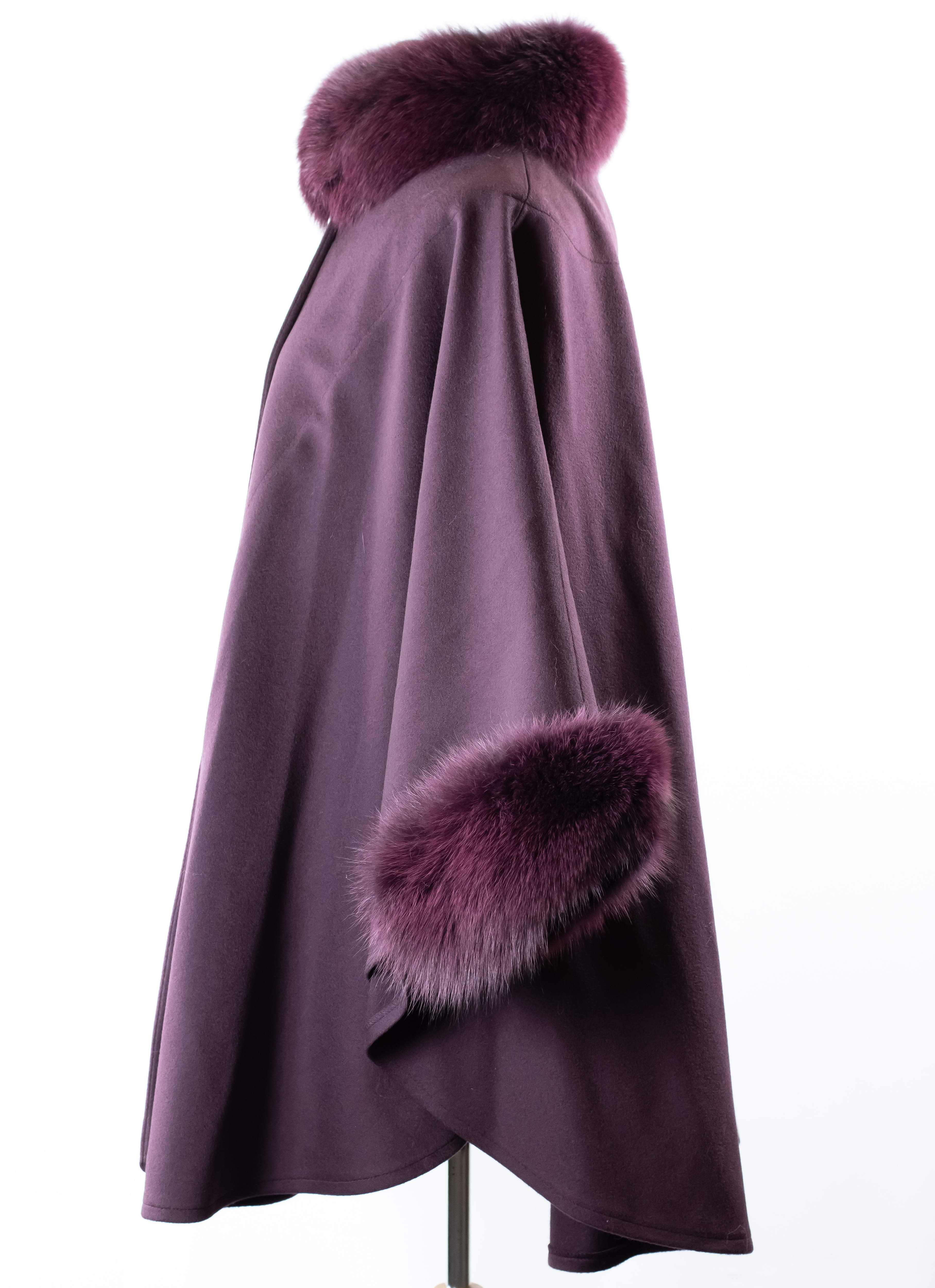Woven Loro Piana Cashmere Cape with Fox Collar and Cuff