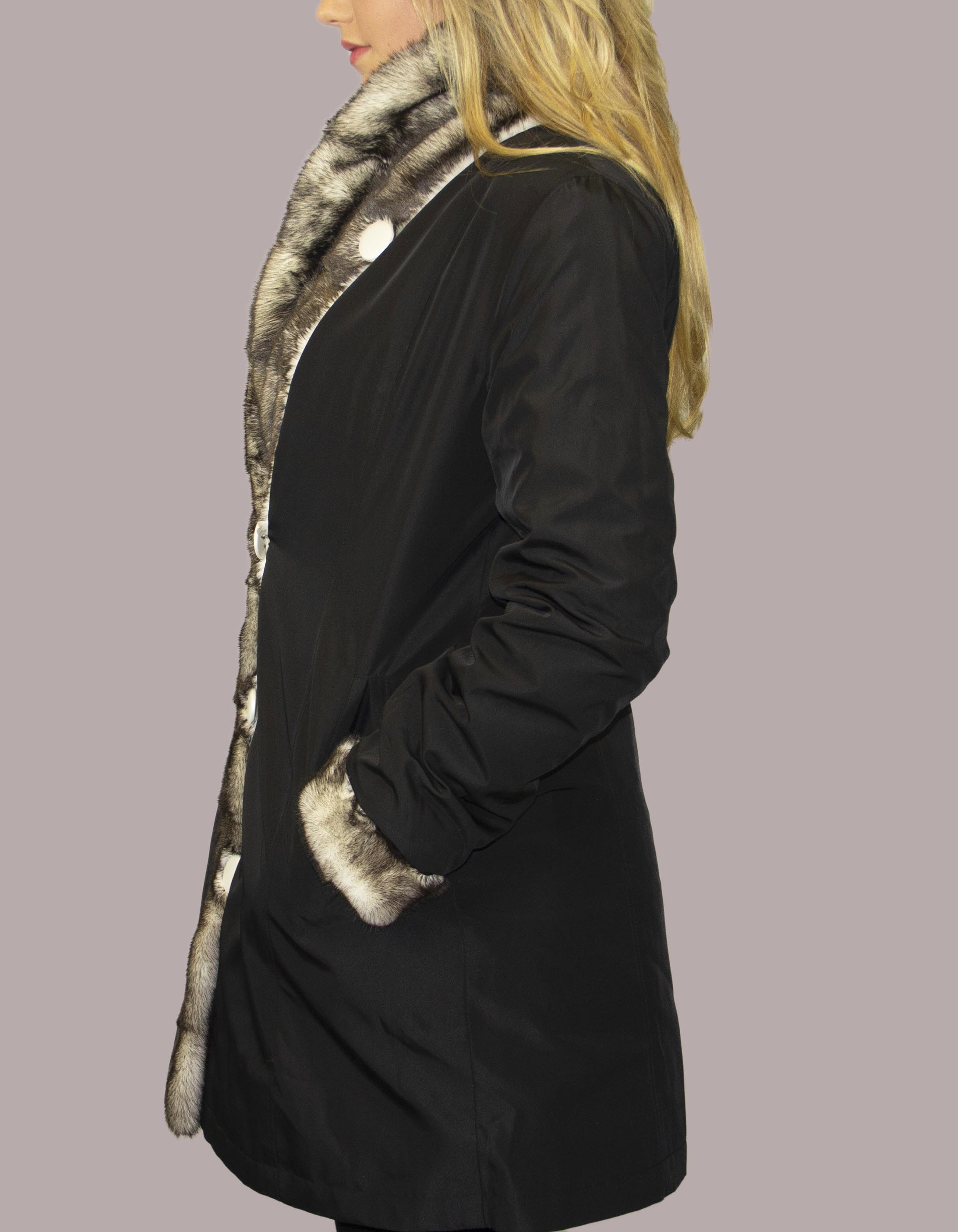 Bleached Sheared Sectional Mink Coat with Bleached Natural Mink Tuxedo Trim and Cuff Reversible to Taffeta