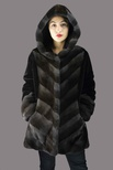 Natural Mink Hooded Jacket with Sheared Mink Sides and Sleeves