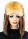 Mahogany Mink Musher Hat with Red Fox Front and Tail