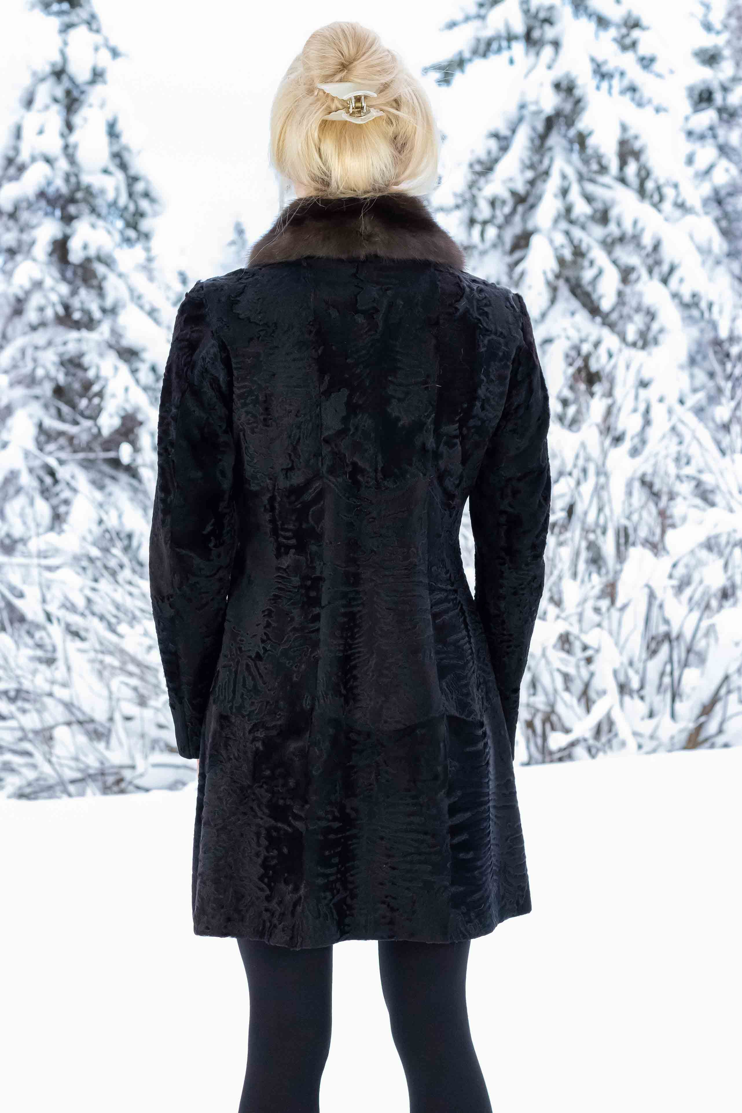 Broadtail Coat with Russian Sable Collar