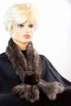 Knitted Sable Pull-Through Scarf with Mahogany Mink Rosette