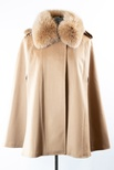 Woven Loro Piana Cashmere Cape with Fox Collar and Shoulder Applets