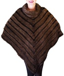 Natural Mahogany Mink with Black Mink Knitted Shawl B/L 17""