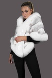 Natural Silver Cross Mink Cape with White Shadow Fox Trim