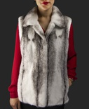 Natural Black Cross Mink Vest with Stand-up Collar