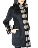 Reversible Cashmere Jacket with Sectional Degraded Sapphire Mink and Sheared Mink Inserts Trim and Cuff