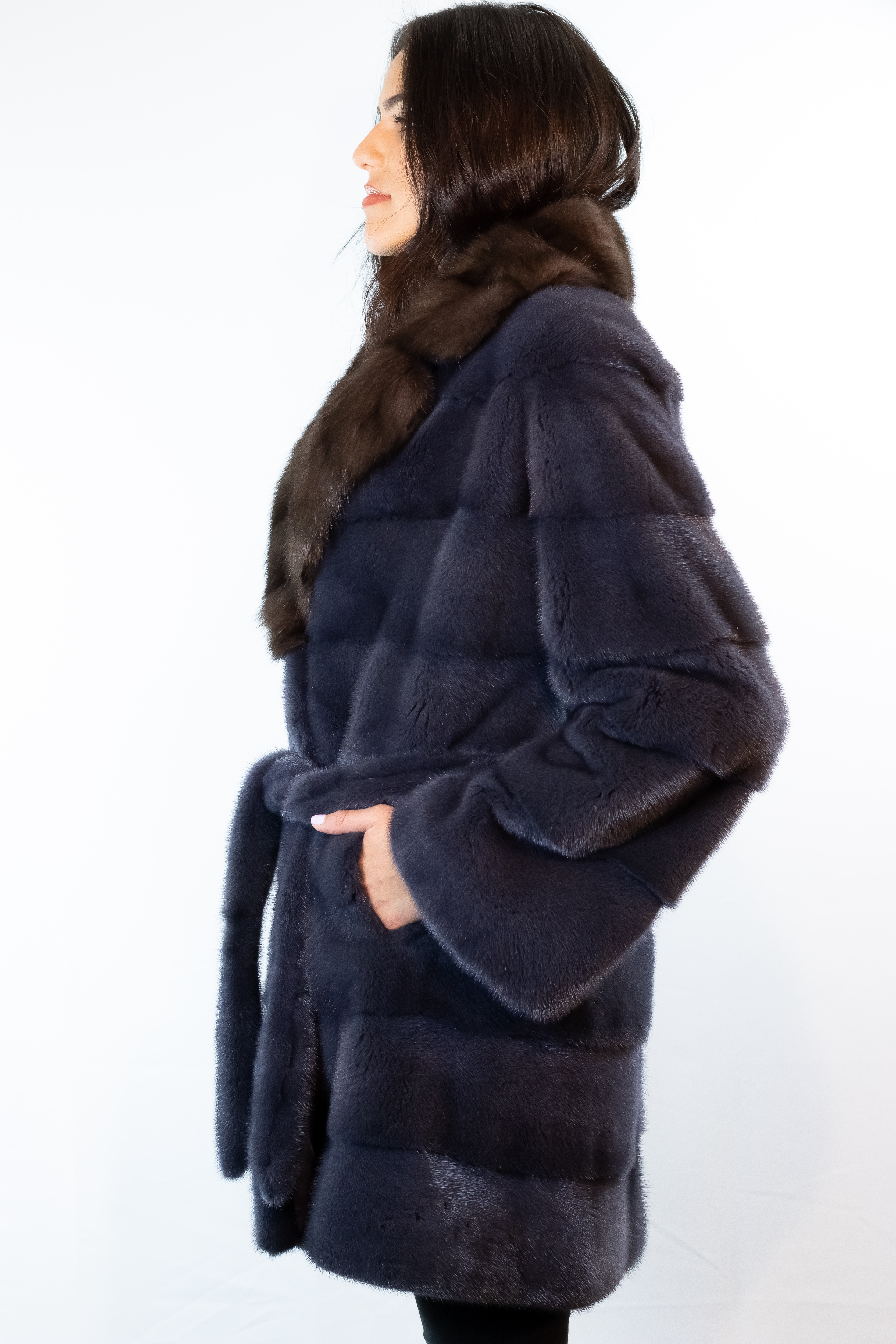 Dyed Blue Mink with Sable