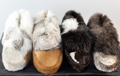 Calf Skin Slipper with Rabbit Trim
