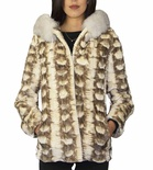 Bleached Sectional Mink Hooded Parka with Coral Fox Ruff