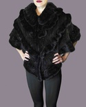 Natural Black Mink Knitted Shawl B/L 17""