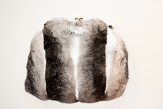 "Natural Chinchilla Clasp Purse and Handmuff  9.5"" Wide X 9"" Tall with 22"" Strap"
