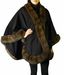 Cashmere Cape with Russian Sable Trim B/L 32""