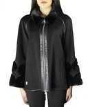 Cashmere Zipper-Front Jacket with Natural Mink Collar Trim and Cuff Detail