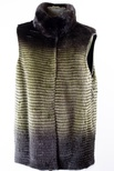Horizontal Ombre Mink Vest with Natural Mink Collar
