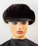 Mink Jockey Hat with Leather Bill