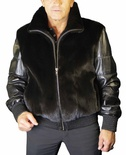 Natural Mink Bomber Jacket with Italian Lamb Leather Sleeves and Banded Cuff