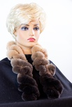 Knitted Chinchilla REX Ruffle Ombre Scarf