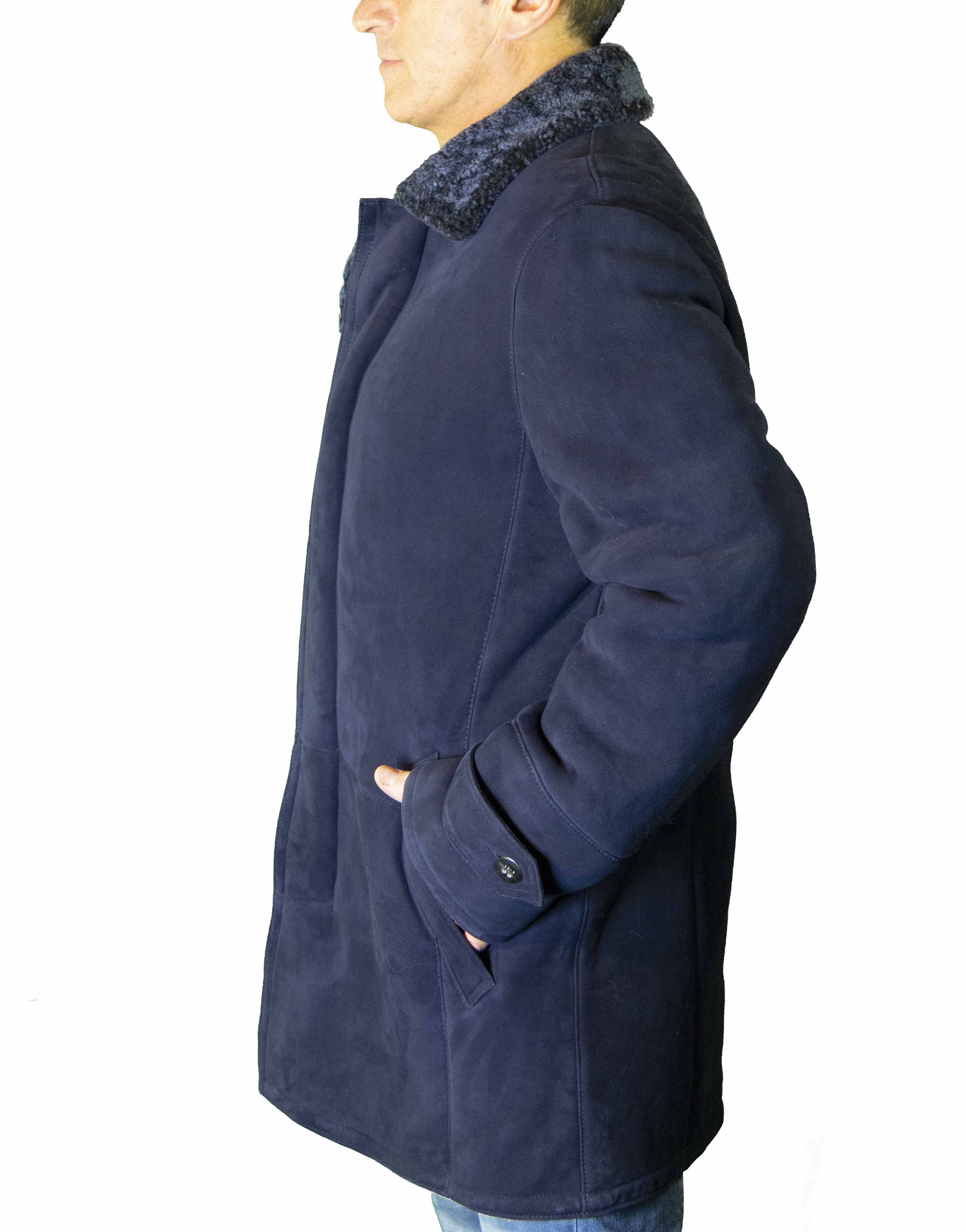 Royal Cut Suede Shearling Button- Down Jacket B/L 35""