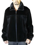 Sheared Ranch Mink Bomber Jacket with Natural Mink Yoke and Collar