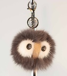 Owl Face Key Chain, Mink with Fox