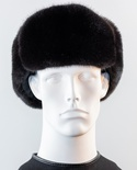Mink Trooper Hat with Leather Crown