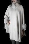 Loro Piana Italian Woven Cashmere Cape with Fox Collar and Cuff