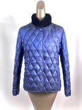 Blue Plucked Mink Puffer Jacket Reversible to Blue Quilt Nylon