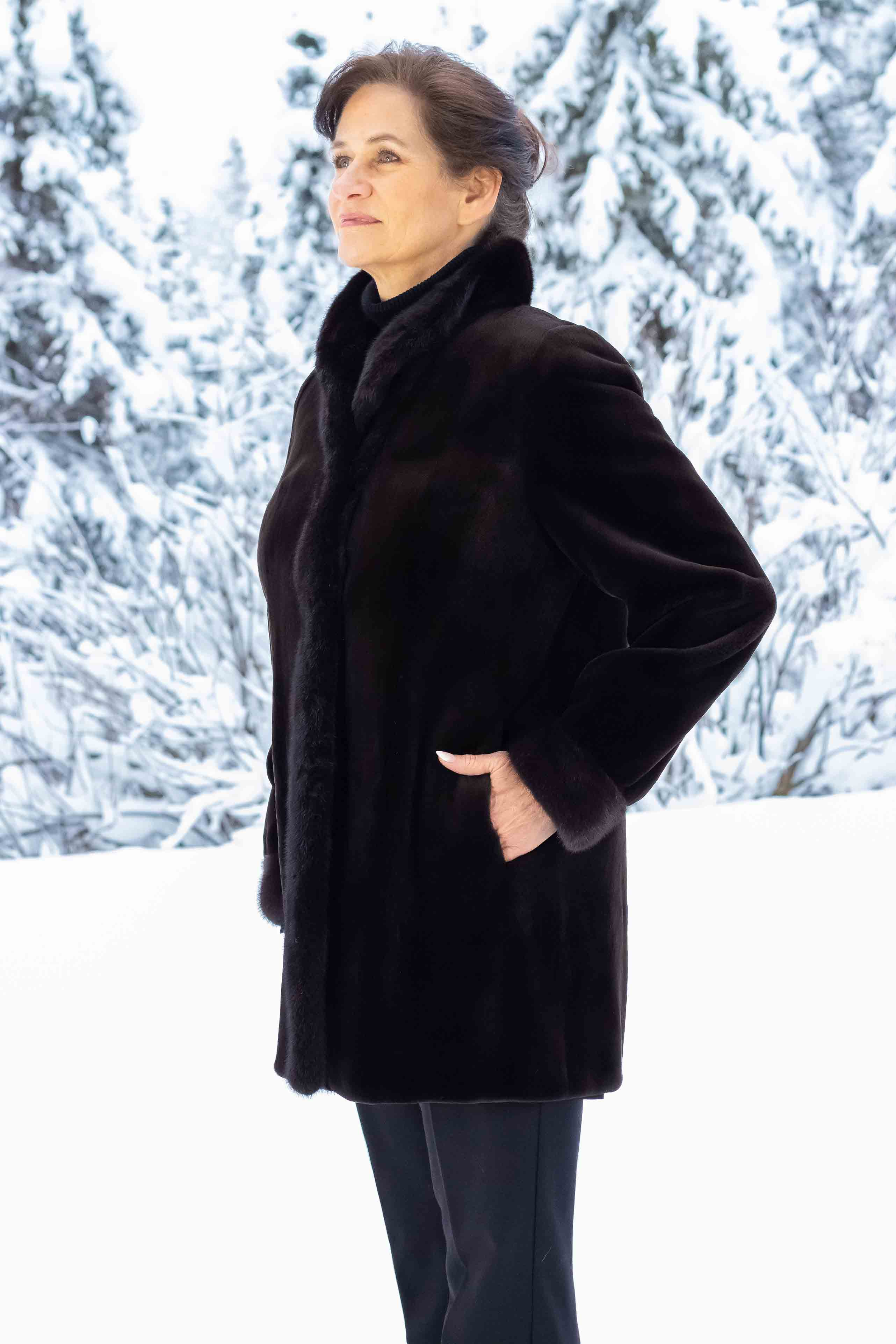 Sheared Mink Coat with Natural Mink Collar and Cuff Reversible to Taffeta